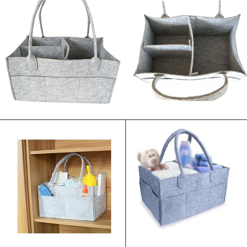 Baby Diaper Caddy et organisateur de jouets,Panier Rangement pour b/éb/é en Feutre sac de couch Organisateur de couche p/épini/ère feutre panier b/éb/é sac Gris