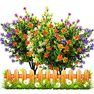 LUCKY SNAIL Artificial Fake Flowers, Faux Outdoor UV Resistant Boxwood Shrubs Plants, Lifelike Plastic Silk Flowers for Indoor Outdoors Home Office Garden Wedding Sidewalk Trim Decor 25