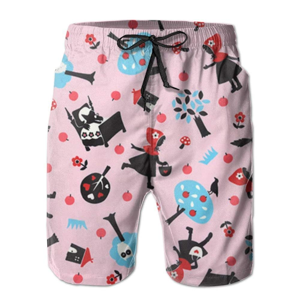 Jebnpse Cartoon Pizza Men Water Sports Beach Pants Pocket,Mens Beach Shorts Quick Dry Summer Surfing Trunks Surf Board Shorts Beach Pants with Pockets for Men