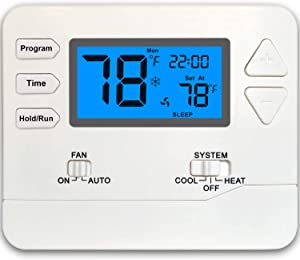 Thermostat Programmable 1 Heat/1 Cool (Blue)