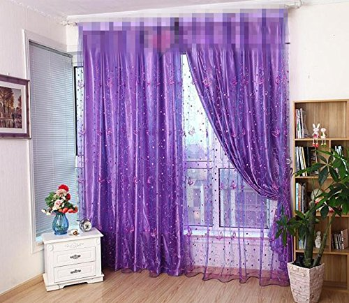 ZWB Beautiful Butterfly Embroidered Romantic Tulle Window Screens Room Door Balcony Curtain Panel Sheer Scarfs