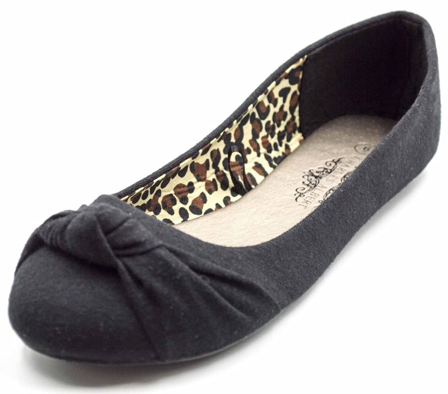 Charles Albert Women's Knotted Front Canvas Round Toe Ballet Flats - Women's Flats Amazon.com