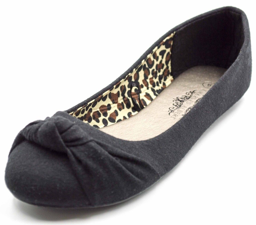 Charles Albert Women's Knotted Slip on Ballet Flats in Black Size: 10