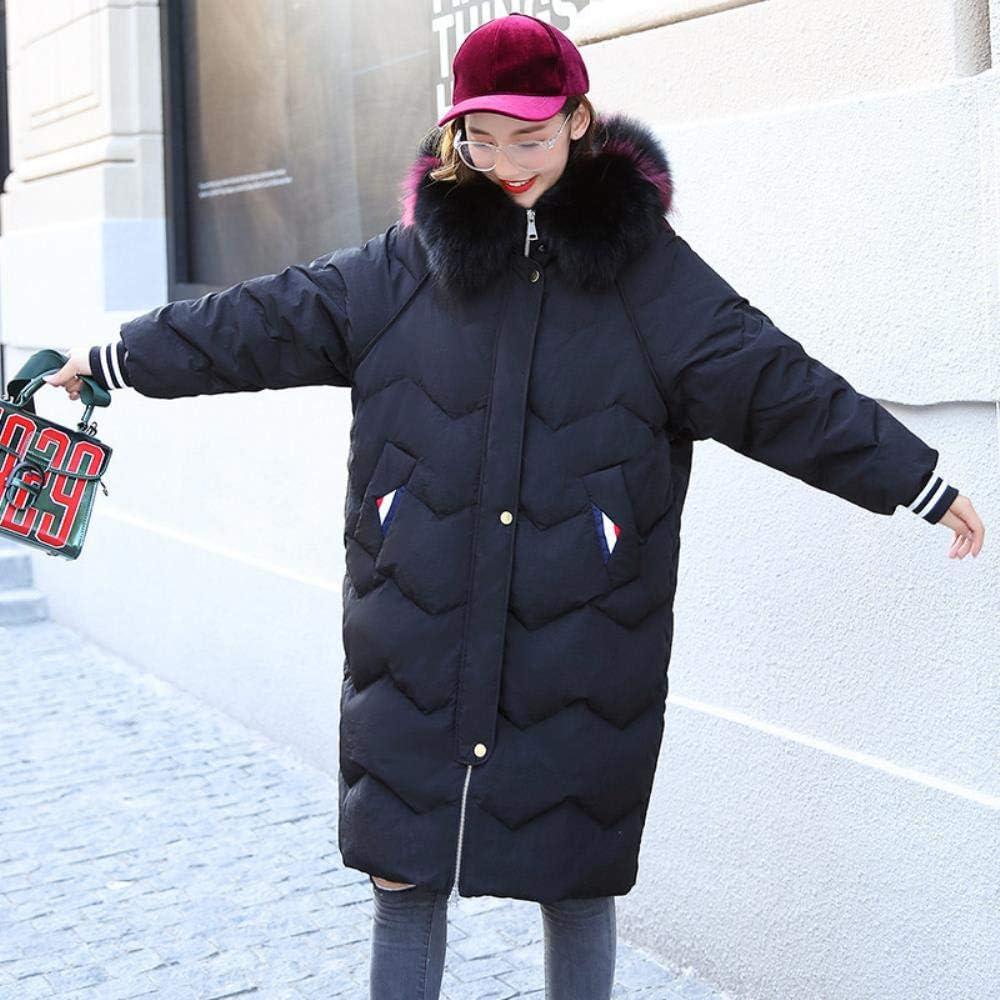 Oowjj Parka Piumino Invernale da Donna Lungo Cappotto con Cappuccio Cappotto Autunnale E Cappotto Invernale Black