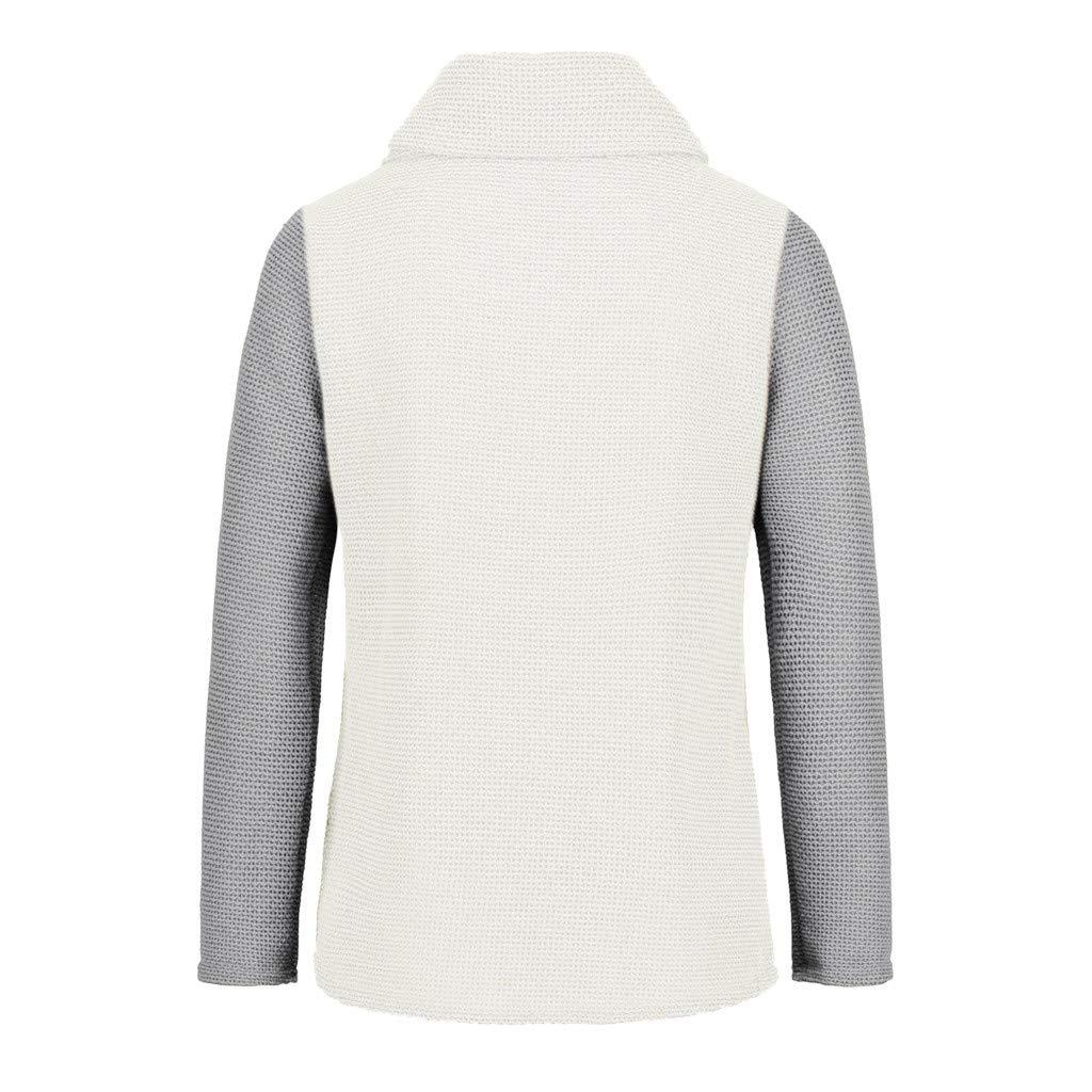 Pullover Damen Strick Grobstrick Hoher Kragen Asymmetrisch Elegant Pulli Frauen Zopfmuster Einfarbig Langarm Shirt