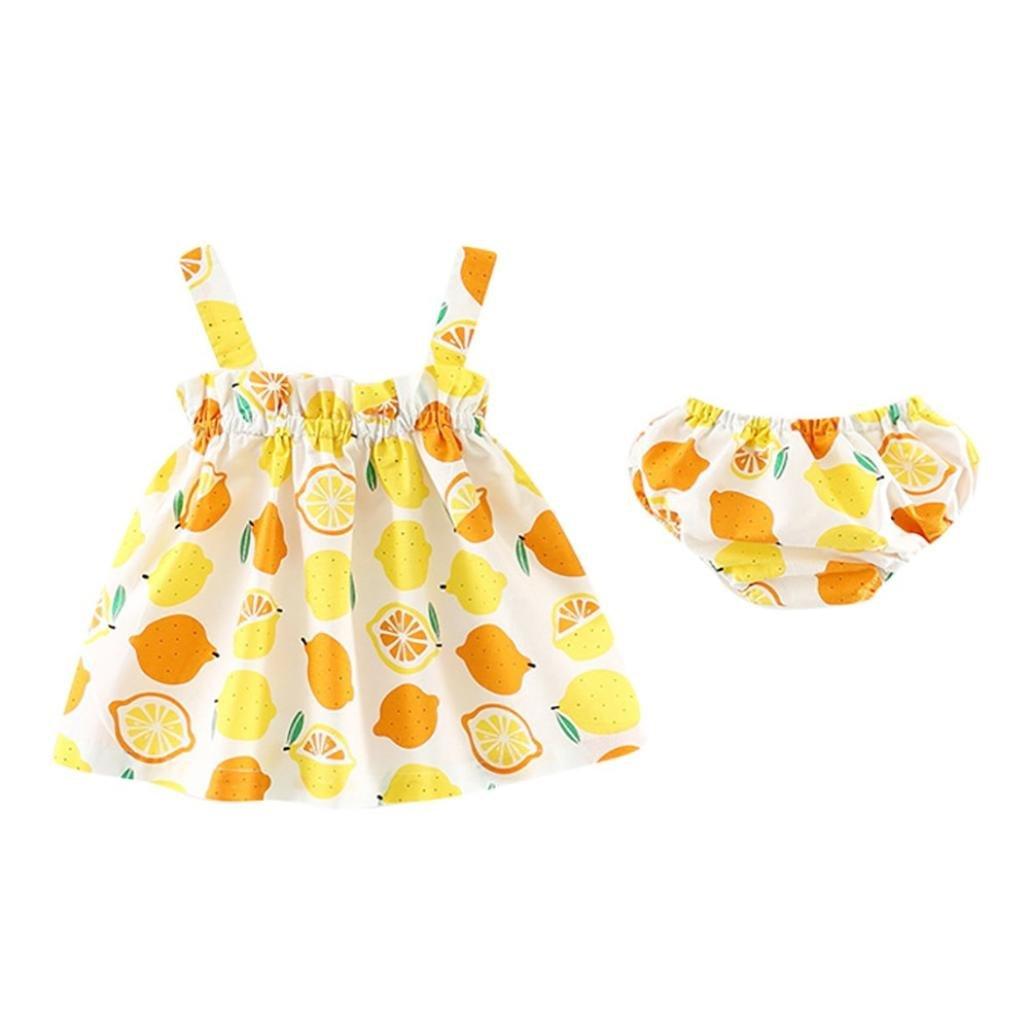 XXYsm Baby M/ädchen Zitronen Drucken Remain Kleid und Spitze Shorts Kleidung Outfits Set