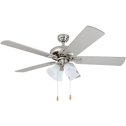 Prominence Home 50591-01 Lanie Traditional Ceiling Fan, 52 , Chilled Gray Chocolate Maple, Brushed Nickel