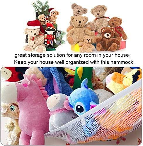guarder/ía oso de peluche organizador de malla con 3 ganchos de metal para mu/ñecas red grande para colgar juguetes Hamaca de juguete gigante de 140 x 100 x 100 cm etc.