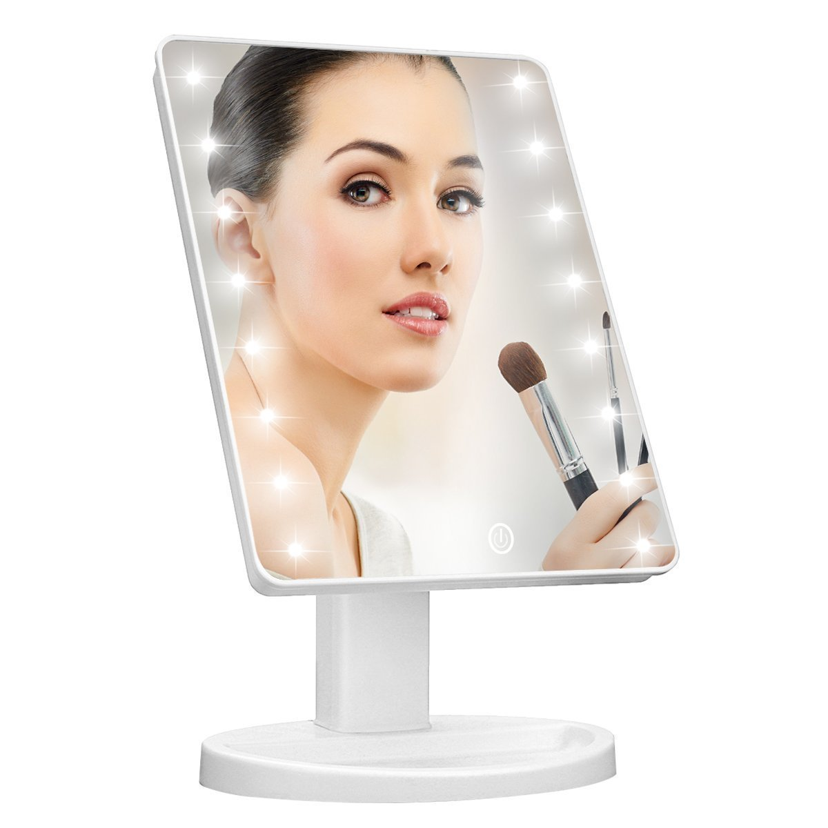 Lighted Makeup Mirror,Natural Daylight Makeup Vanity Mirror with 16 LED lights & Touch Screen Dimming,Spot Mirror with Dual Power Supply Countertop Cosmetic Mirror (White)