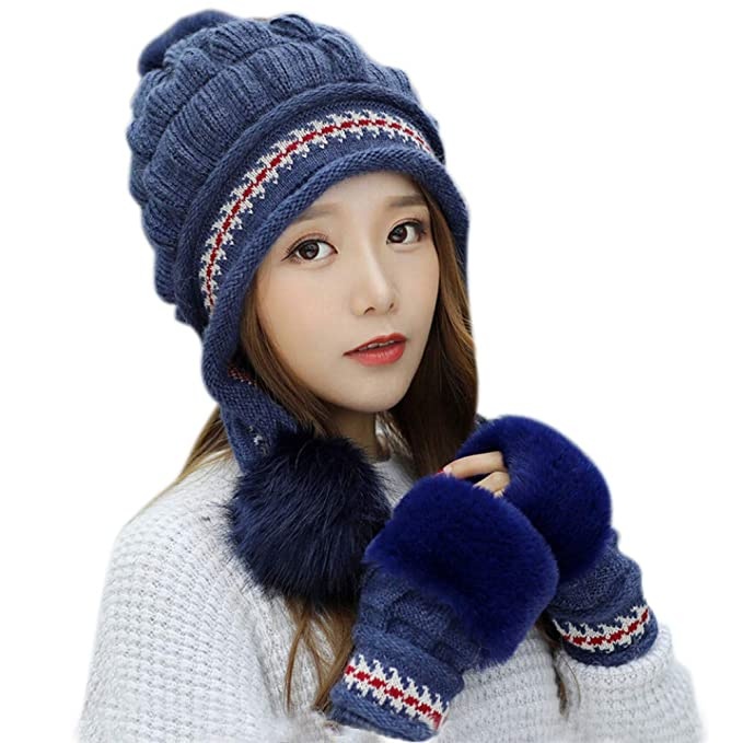 6c416c092dc24 Women s Winter Knitted Pom Pom Beanie Hat Earflap Caps and Faux Fur Gloves  Set (Beige) at Amazon Women s Clothing store