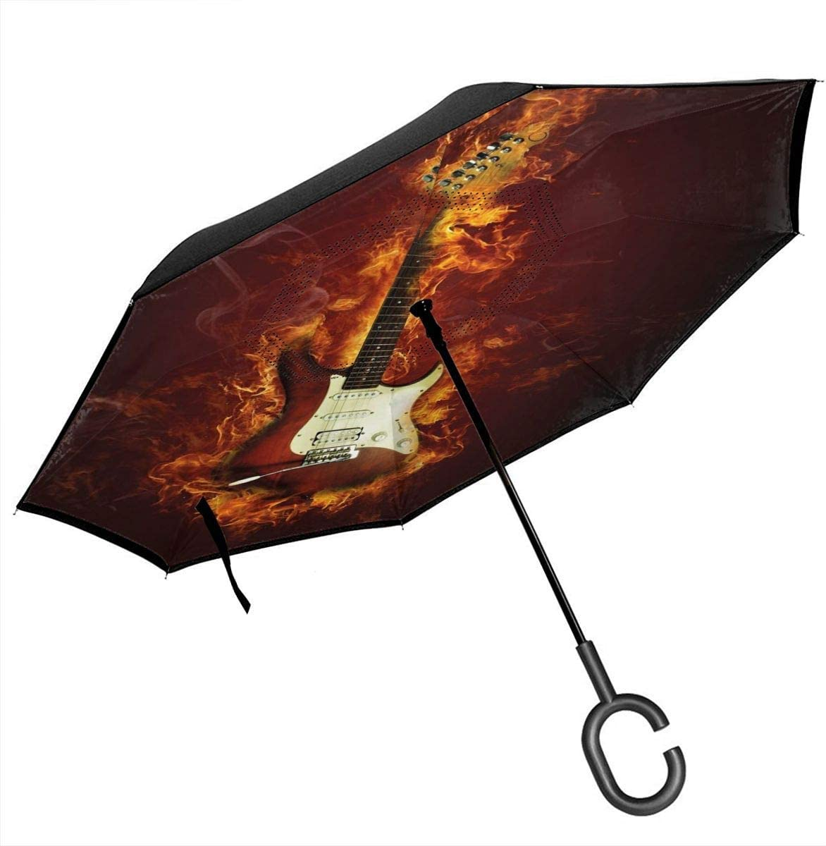 Paraguas inverso del Coche, Guitarra eléctrica en Llamas Concepto de Creatividad Musical Hardrock de Fuego ardiente, con Mango en Forma de C