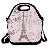 Best PackIt Ladies Lunch Bags - Pink Paris Stamps Pattern Eiffel Tower Insulated Lunch Review