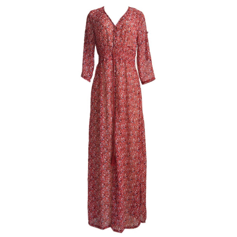 ipretty Damen Floral Kleid Sexy Chiffon V-Ausschnitt Lange Sommerkleid Rotwein