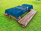 Lunarable Graduation Outdoor Tablecloth, College Celebration Ceremony Certificate Diploma Square Academic Cap Print, Decorative Washable Picnic Table Cloth, 58 X 84 inches, Blue and White