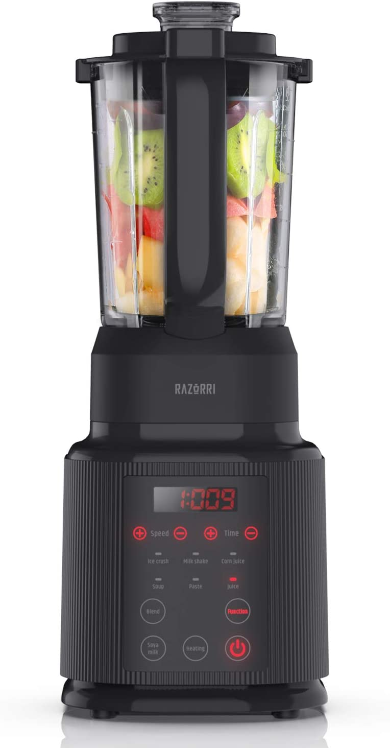 Razorri RFHE800A 7-in-1 Professional Blender, Food Processor with Heating Elements, 1400 Watts, for Hot Soup, Puree, Smoothies, Ice and Frozen Fruit, 40 oz Glass Pitcher, Black