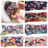American Trends Baby Girl Big Bow Elastic Headbands Cute Turban Hairband D-6 Pairs-Mix Color