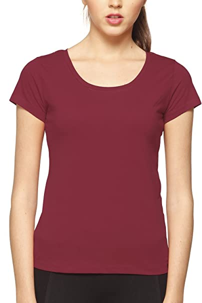 Bewakoof com Cranberry Red Plain Women's T-Shirts: Amazon in