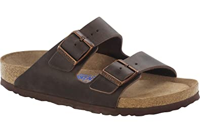 66fc3643c309 Image Unavailable. Image not available for. Color  Birkenstock 452763   Narrow Arizona Soft Footbed Oiled Leather Habana Sandals ...