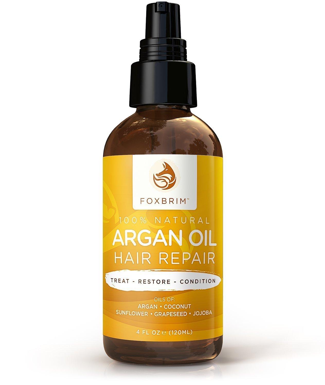 Foxbrim Argan Oil Hair Repair Serum - 100% Natural - Hair Treatment Oil Blend - Argan Oil with Jojoba Oil, Coconut Oil & Shea Butter - Foxbrim 4OZ