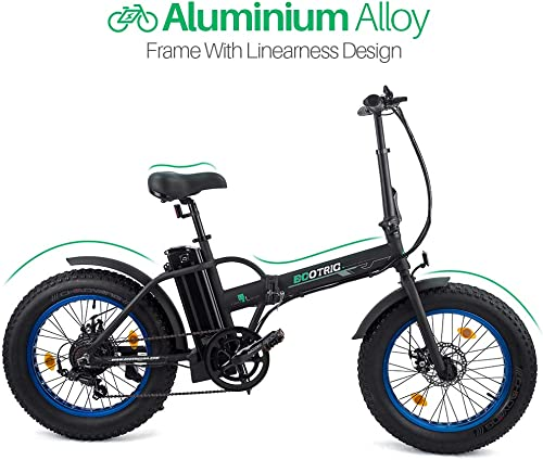 ECOTRIC 20 New Fat Tire Folding Electric Bike Beach Snow Bicycle ebike 500W Electric Moped Electric Mountain Bicycles Black and Blue