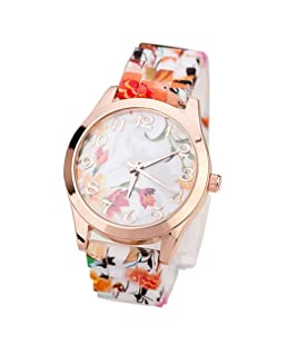 COOKI Womens Flower Watches, Unique Analog Fashion Lady Watches Female Watches Casual Wrist Watches for Women,Round Dial Case Comfortable Silicone Watch-H17 (Orange)