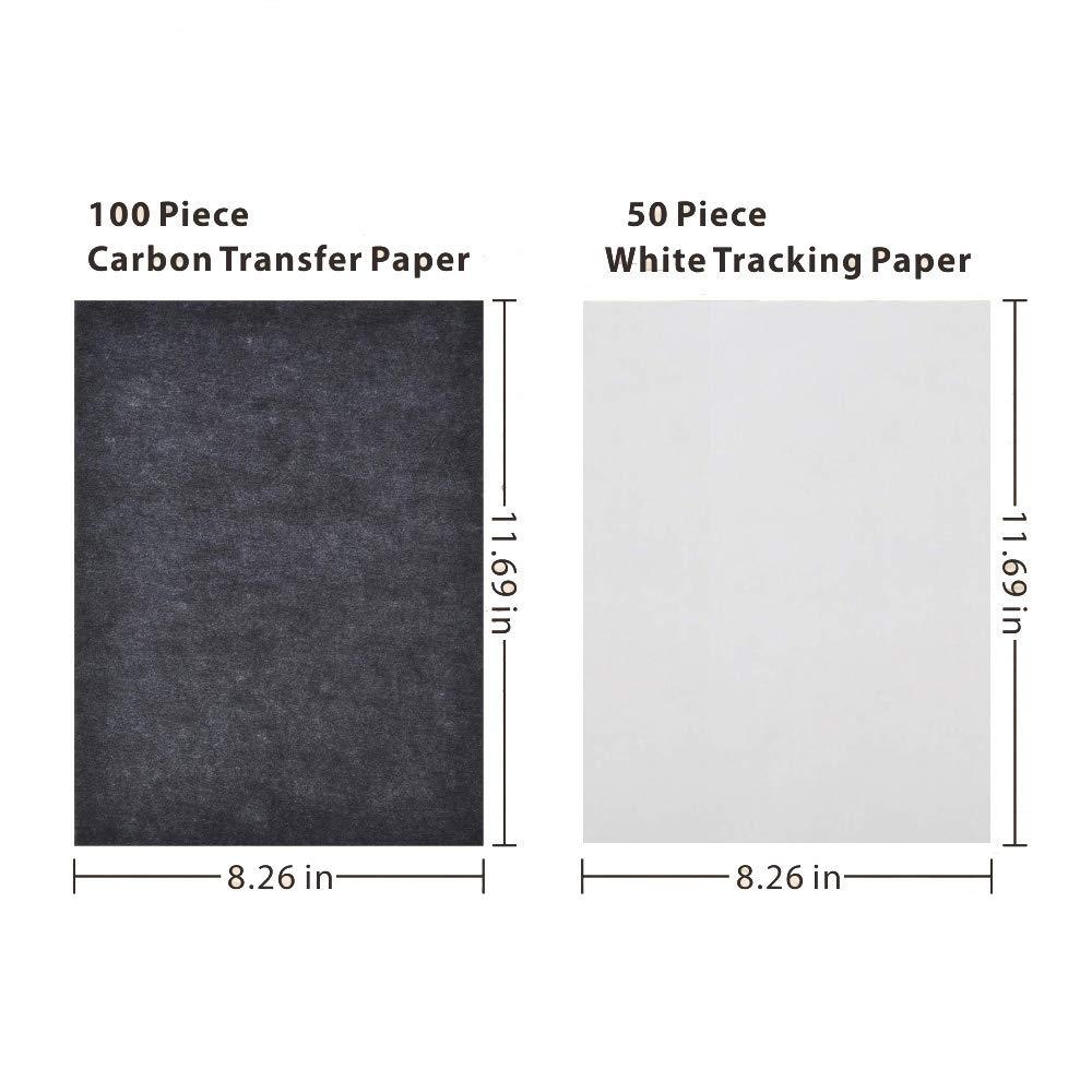 150 fogli Formato A4 Carta Carbon Carta Carbonio Carta Tracing per Ricalcare e Copiare Soggetti con 5pcs penna per stilo goffratura per legno//Carta//Argilla