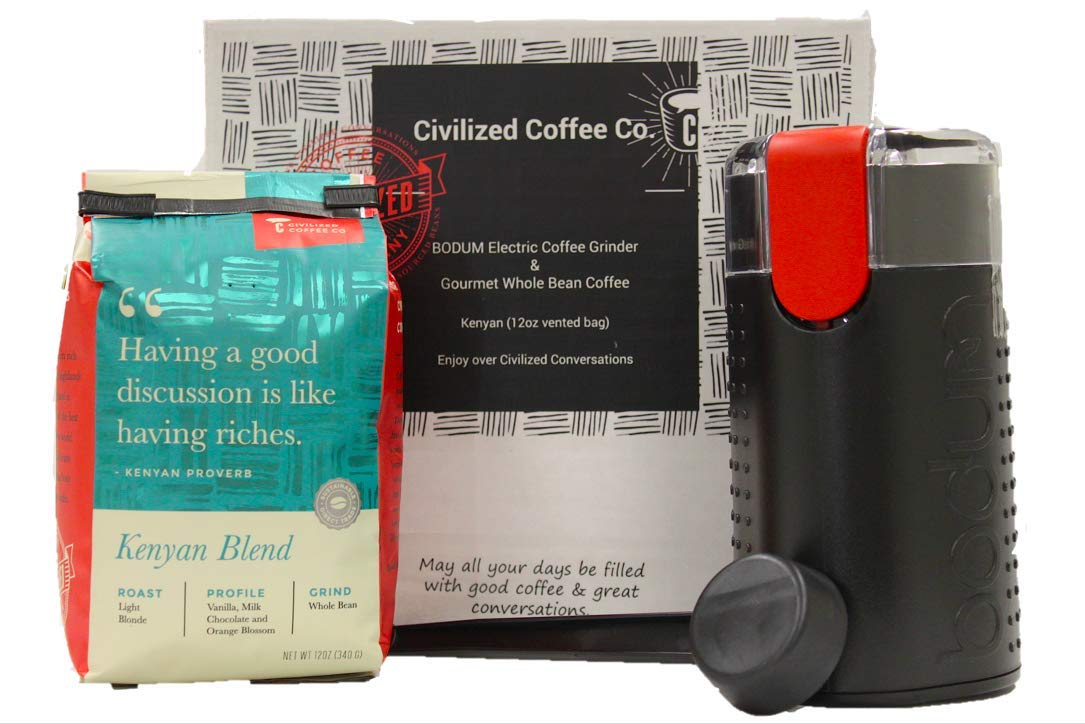 Coffee Sampler Gift Box Electric Coffee Grinder Kenyan Whole Bean Coffee & Scoop by CIVILIZED COFFEE (Image #1)