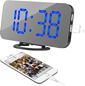 """oenbopo Alarm Clock, LED Digital Clock with 6.5"""" Large Display, Dual USB Charging Ports, Snooze Function, Diming Mode, Black Body Mirror Surface Clock for Bedroom Living Room Office (Blue Digital)"""