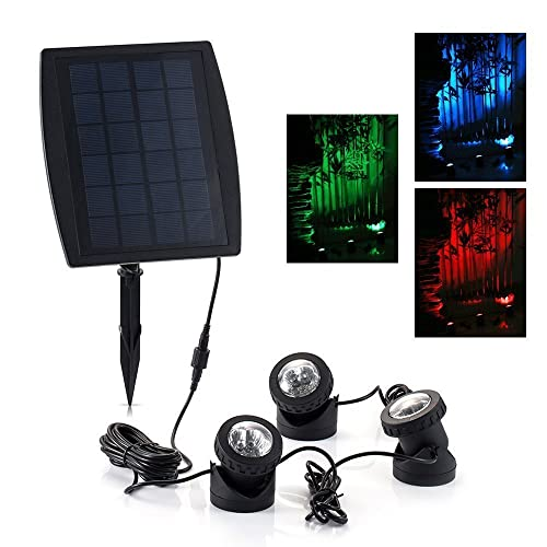 Solar Powered Light 18 LEDs RGB Color Changing Landscape Spotlight Projection Light with 3 Submersible Lamps for Garden Pool Pond Outdoor Decoration Lighting