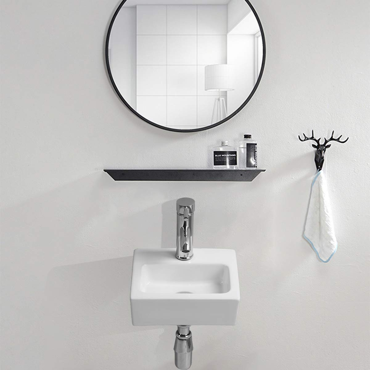 Azunx Mini lavabo dangle en c/éramique pour salle de bain Blanc