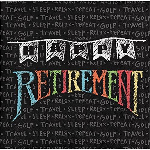 Retirement Chalk Beverage Napkins, 48 -