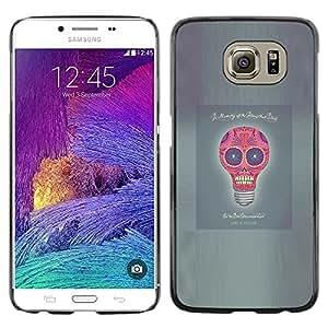Shell-Star Arte & diseño plástico duro Fundas Cover Cubre Hard Case Cover para Samsung Galaxy S6 / SM-G920 / SM-G920A / SM-G920T / SM-G920F / SM-G920I ( Idea Skull Funny Poster Light Bulb Grey )