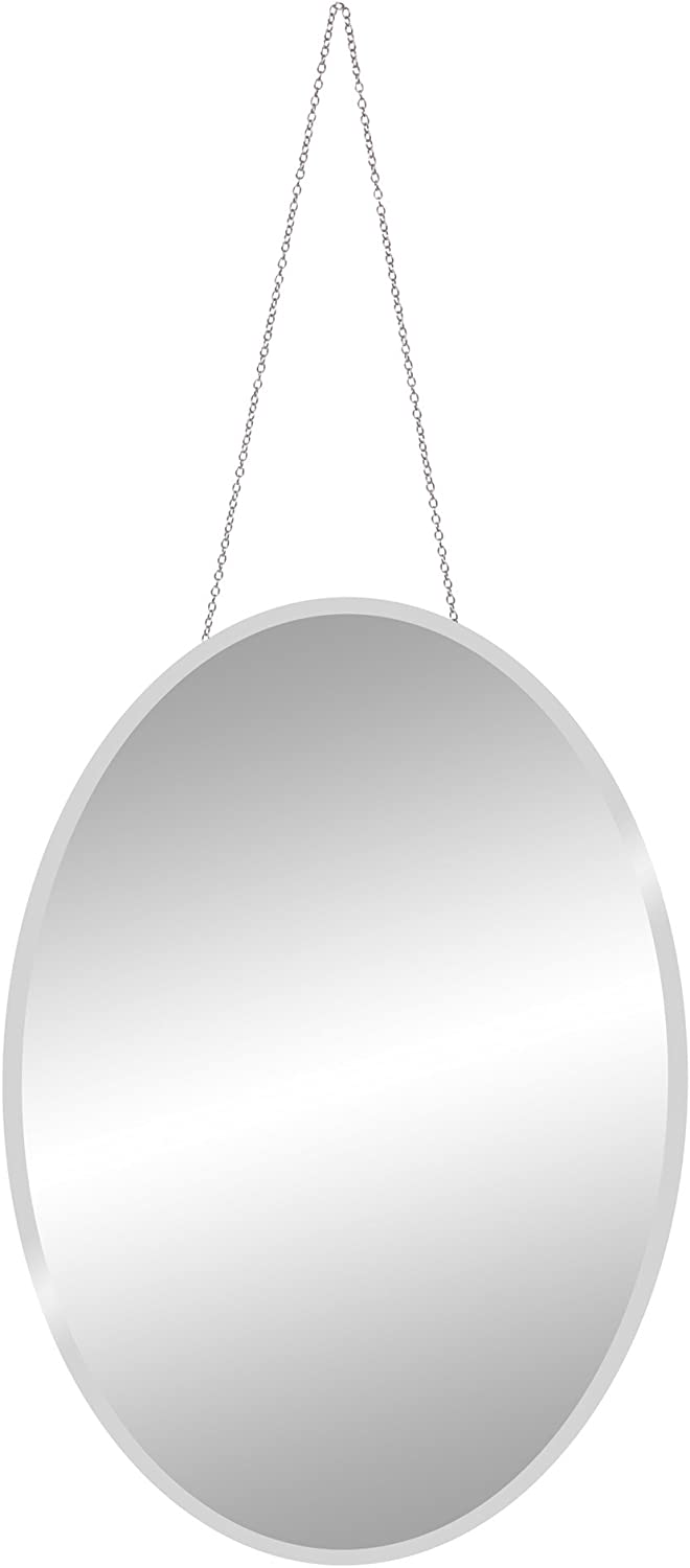 Patton Wall Decor 17x24 Frameless Beveled Oval Mirror with Hanging Chain, Silver