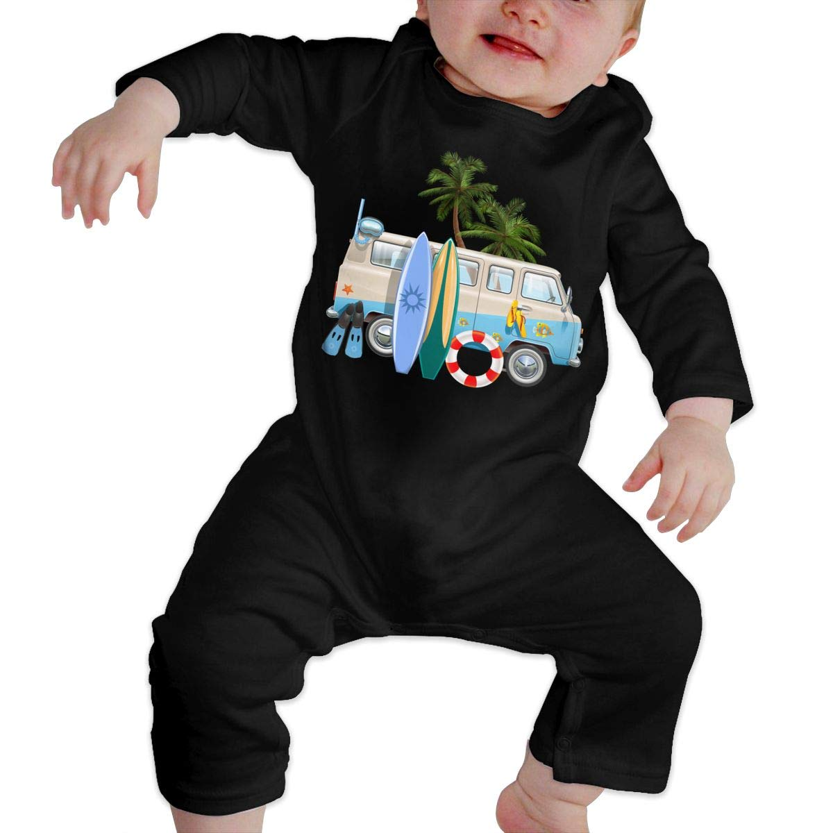 UGFGF-S3 Surfboard Car Newborn Baby Long Sleeve Bodysuit Baby Rompers