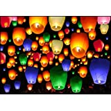 Shop4Alll Colorful Make A Wish High Flying Sky Parachute Hot Air Lantern with Fuel Wax Candle (Pack of 5)