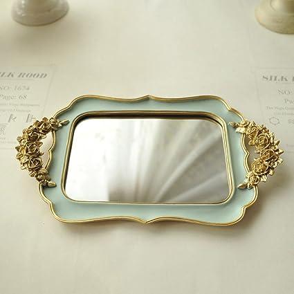 Bandeja de joyas de oro,Retro Rose oro Resina mirroreddecorative bandejas porta Bandeja de la