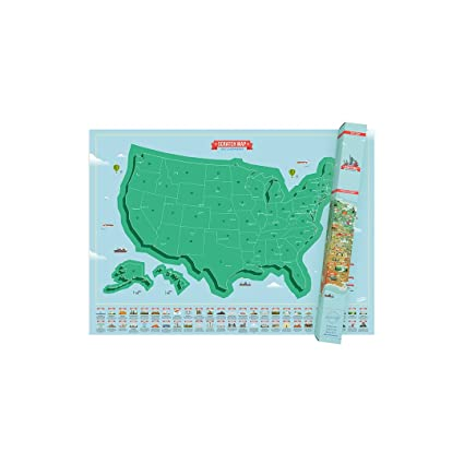 Colorful Map Of Usa.Amazon Com American Landmark Scratch Map Personalized Usa