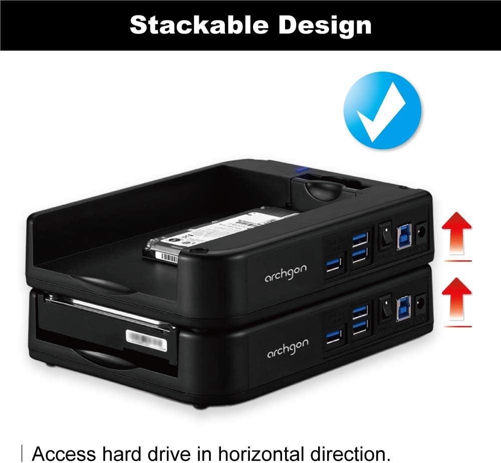 Optimized for UASP /& SATA III 6.0 Gbps Transfer Rate Plus 3 Ports USB 3.0 Hub Archgon MH-3507HUB-U3A USB 3.0 Patented Hard Drive Docking Station