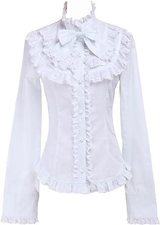 Blanca Algodón Volantes Encaje Bow Kawaii Victoriana Lolita Camisa Blusa de Mujer: Amazon.es: Ropa y accesorios
