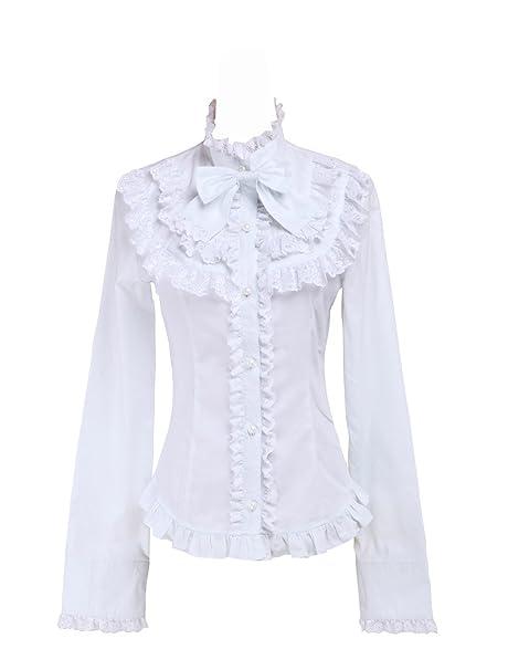 43a876f1a99 an*tai*na* Blanca Algodón Volantes Encaje Bow Kawaii Victoriana Lolita  Camisa Blusa de Mujer: Amazon.es: Ropa y accesorios