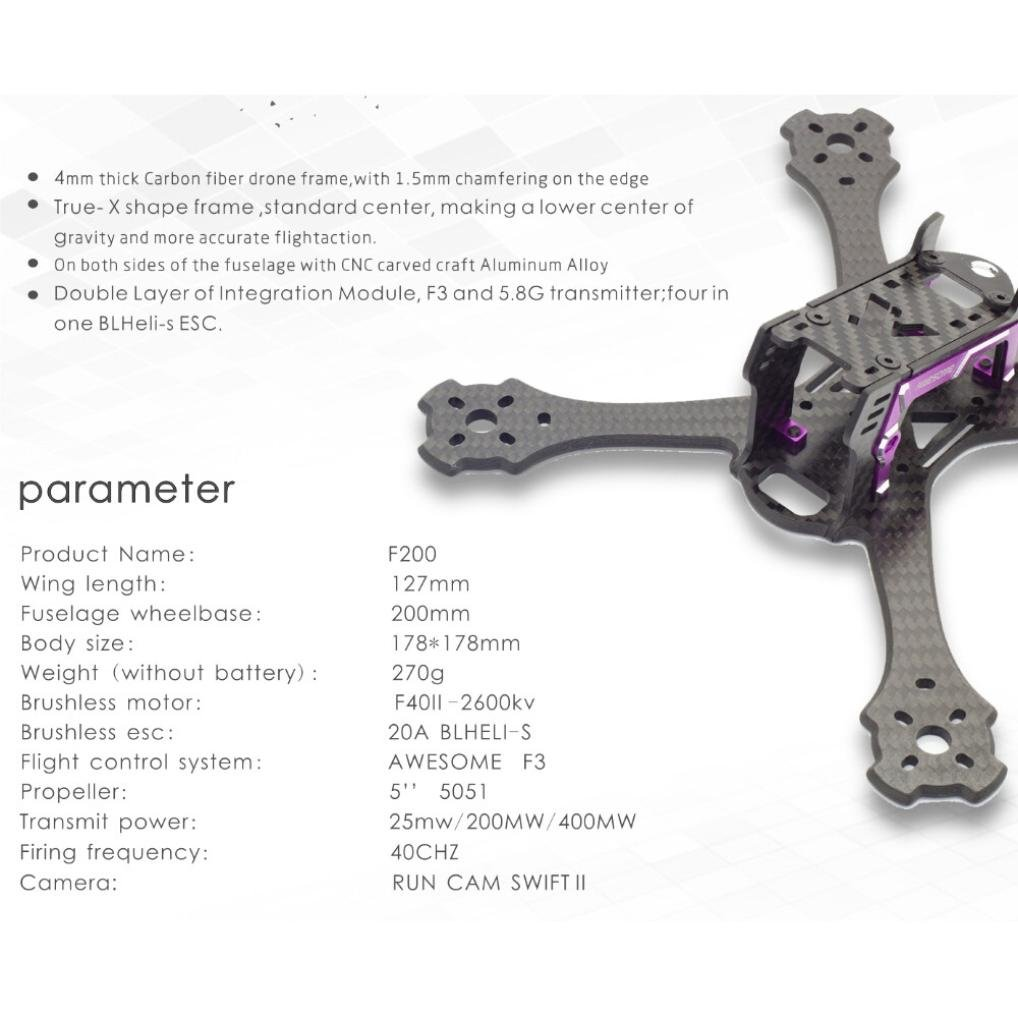 Wokee Ehrfürchtige F200 200mm 4mm Arm FPV Racing Drone Rahmen Carbon ...