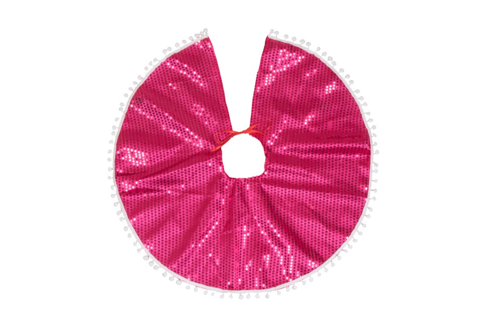 Clever Creations Pink Sequin Christmas Tree Skirt Pink Sequins with White Border | Traditional Festive Holiday Decor | Helps Contain Needle Mess | Perfect Size for Small Trees | 25 Diameter