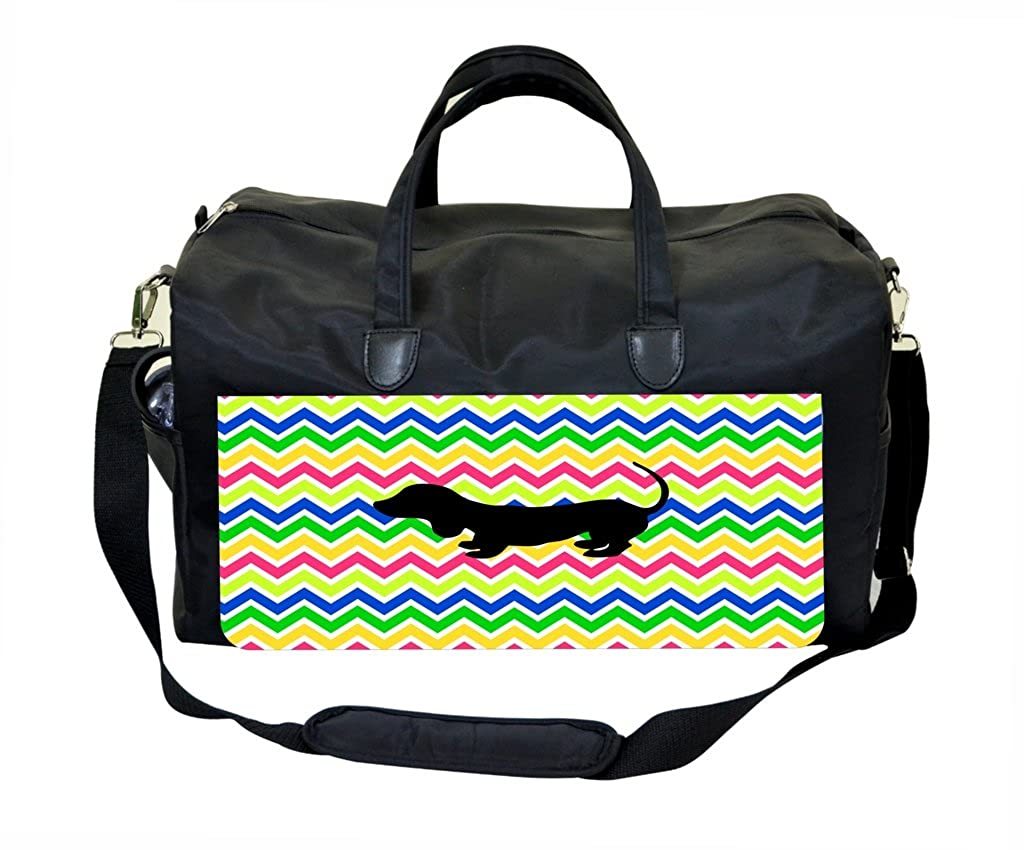 Cute Dog Silhouette on Chevrons Therapist Bag