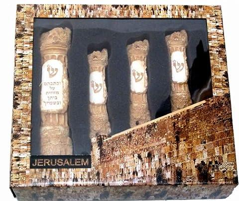 FOUR chiseled mezuzah case SET gift box Jerusalem Western wall design Israel