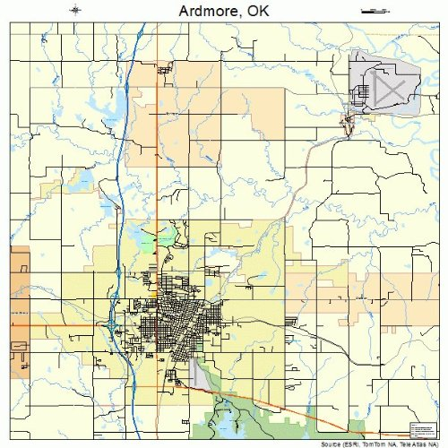 Ardmore Outdoor Wall - Image Trader Large Street & Road Map of Ardmore, Oklahoma OK - Printed poster size wall atlas of your home town