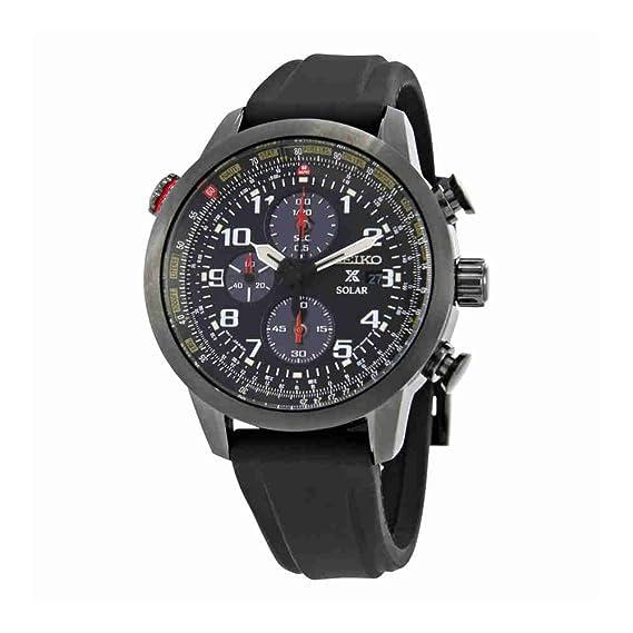 Seiko Solar SSC371 Reloj de pulsera digital para hombre, con cronógrafo, correa de silicona con baño de iones y esfera analógica, color negro: Amazon.es: ...