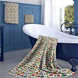 Doodle Print bathroom accessories set Various Home Interior Elements Armchair Table Mirror Design Elements Doodle Style personalized hand towels set Multicolor