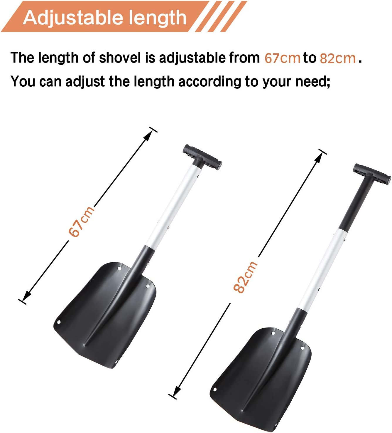 Aluminum Alloy Car Shovel Suitable for Cars Camping Retractable Sonw Shovel Orange Gardens and Other Outdoor Activities Portable Folding Shovel