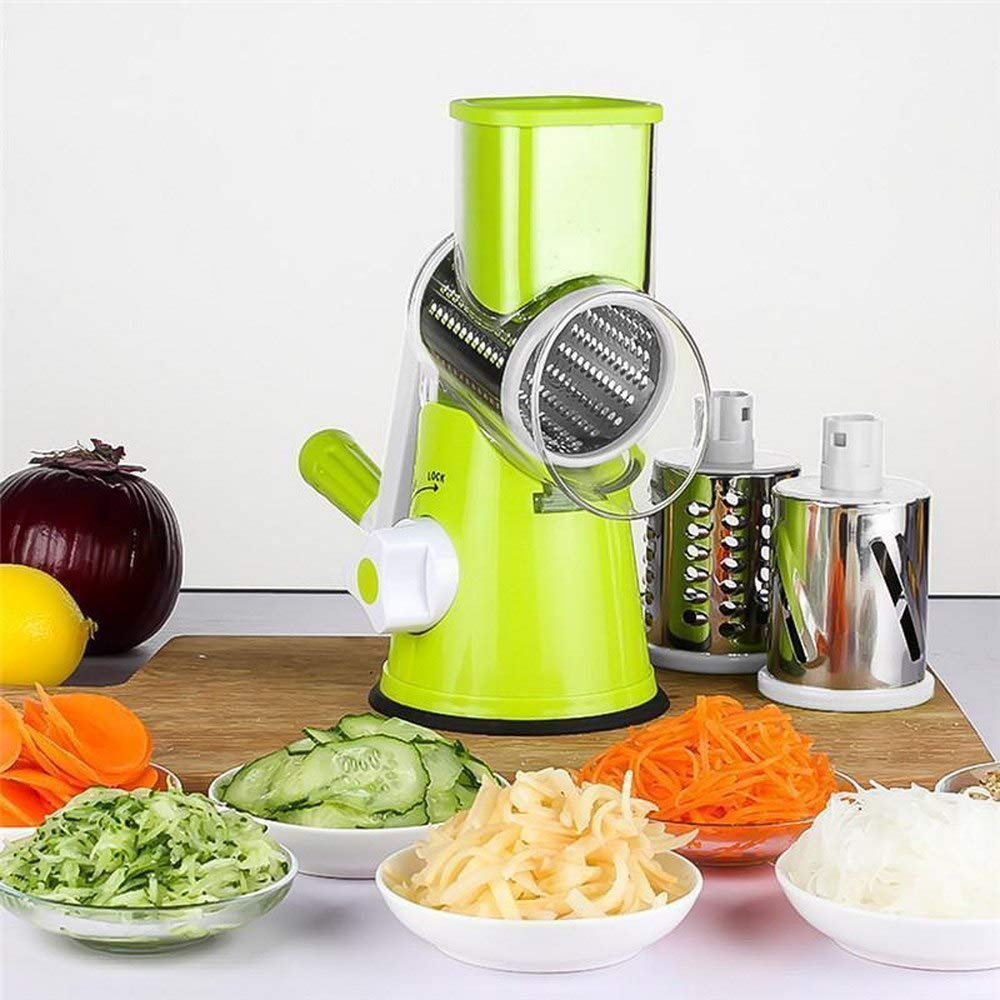 Vegetable Mandoline Chopper,Upintek 3-Blades Manual Vegetable Slicer,Round Slicer Cheese Shredder with Strong Suction Base