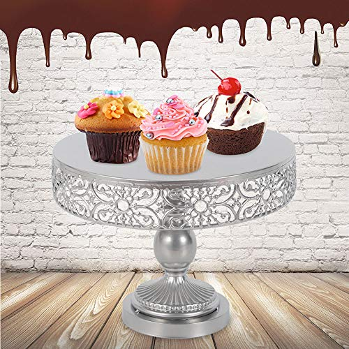 12-Inch Silver Metal Birthday Cake Stand Round Event Wedding Party Display Pedestal Plate Tower (30cm in diameter) from TFCFL